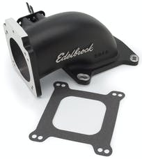Edelbrock 38483 EFI INTAKE ELBOW LOW PROFILE 90MM TB 4150 FLANGE W/BLK MINI TEXTURE POWER COAT