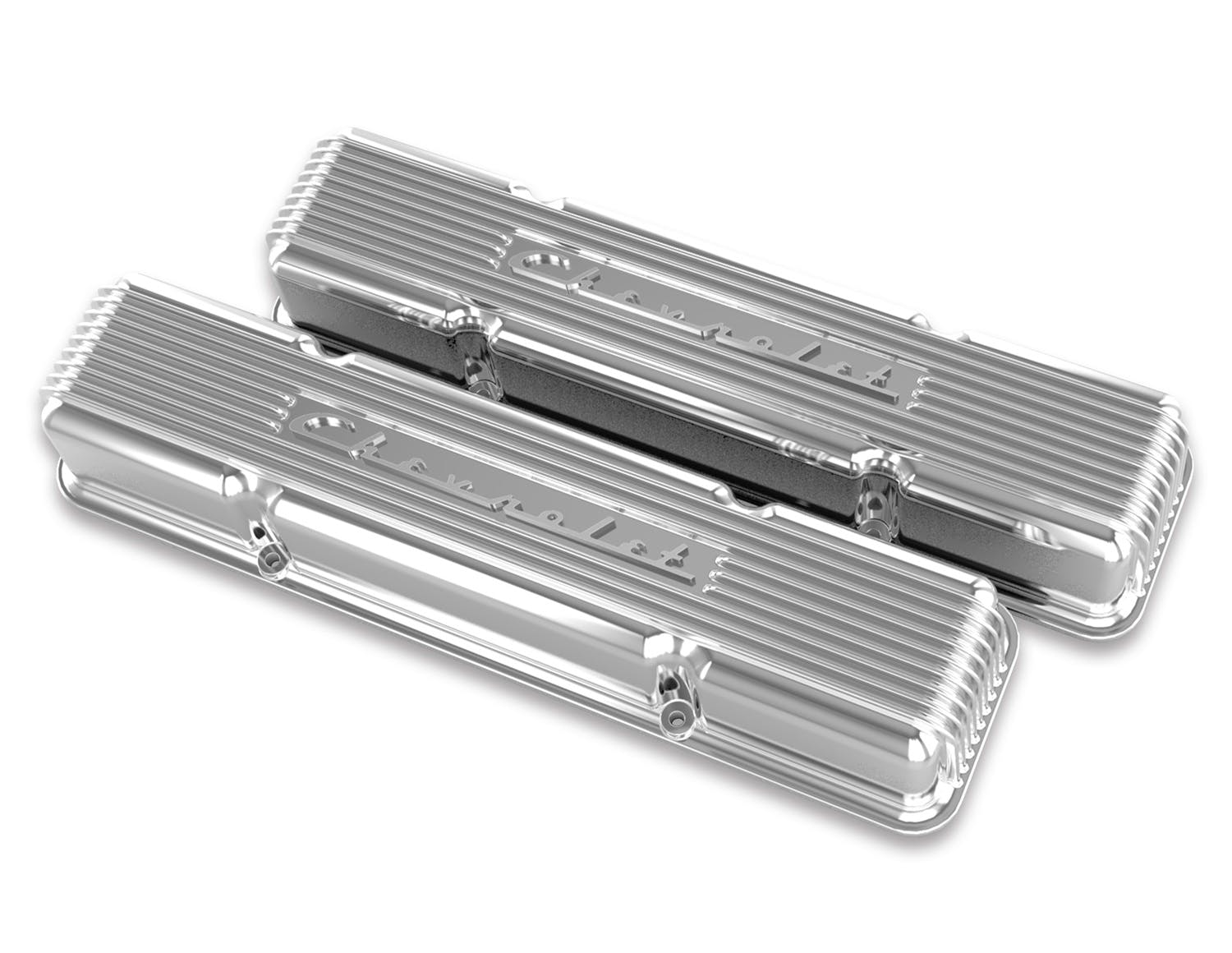 Holley Valve Covers Set of 2 New Polished for Chevy Chevrolet 241-111