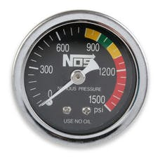 NOS 15925NOS Nitrous Gauge with Adapter, Black, 1-1/2; Dry