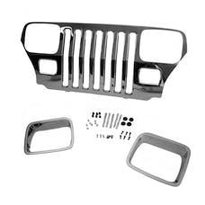 Omix-ADA 12033.06 Chrome Grille Overlay; 87-95 Jeep Wrangler YJ