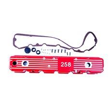 Omix-ADA 17401.14 Aluminum Valve Cover, Red, 258; 81-87 Jeep CJ/Wrangler YJ