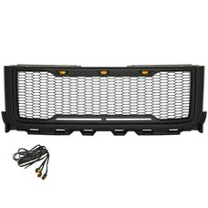 Paramount Automotive 41-0182MB Impulse Mesh Packaged Grille, Matte Black with Amber LEDs