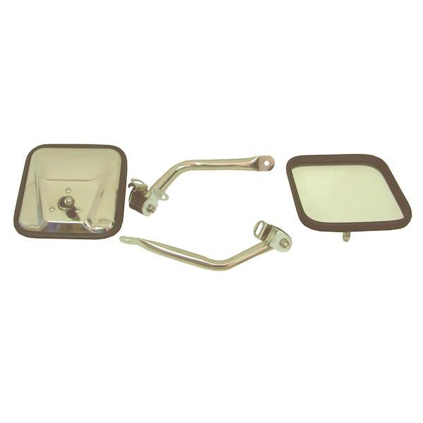 Rugged Ridge 11005.07 CJ-Style Side Mirror Kit; Stainless Steel; 97-06 Jeep Wrangler TJ