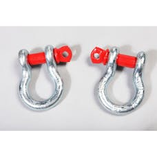Rugged Ridge 11235.01 D-Ring Shackles; 3/4-Inch; Silver with Red pin; Steel; Pair