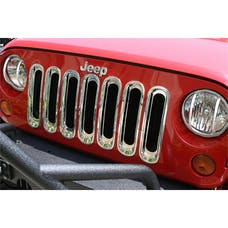 Rugged Ridge 11306.20 Grille Inserts; Chrome; 07-17 Jeep Wrangler JK