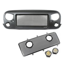 Rugged Ridge 12034.35 Spartan Grille Mesh Insert Kit w/Rd LED Driving Lights; 07-17 Jeep JK