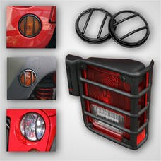 Rugged Ridge 12496.02 10 Piece Euro Guard Light Kit; Black; 07-17 Jeep Wrangler JK