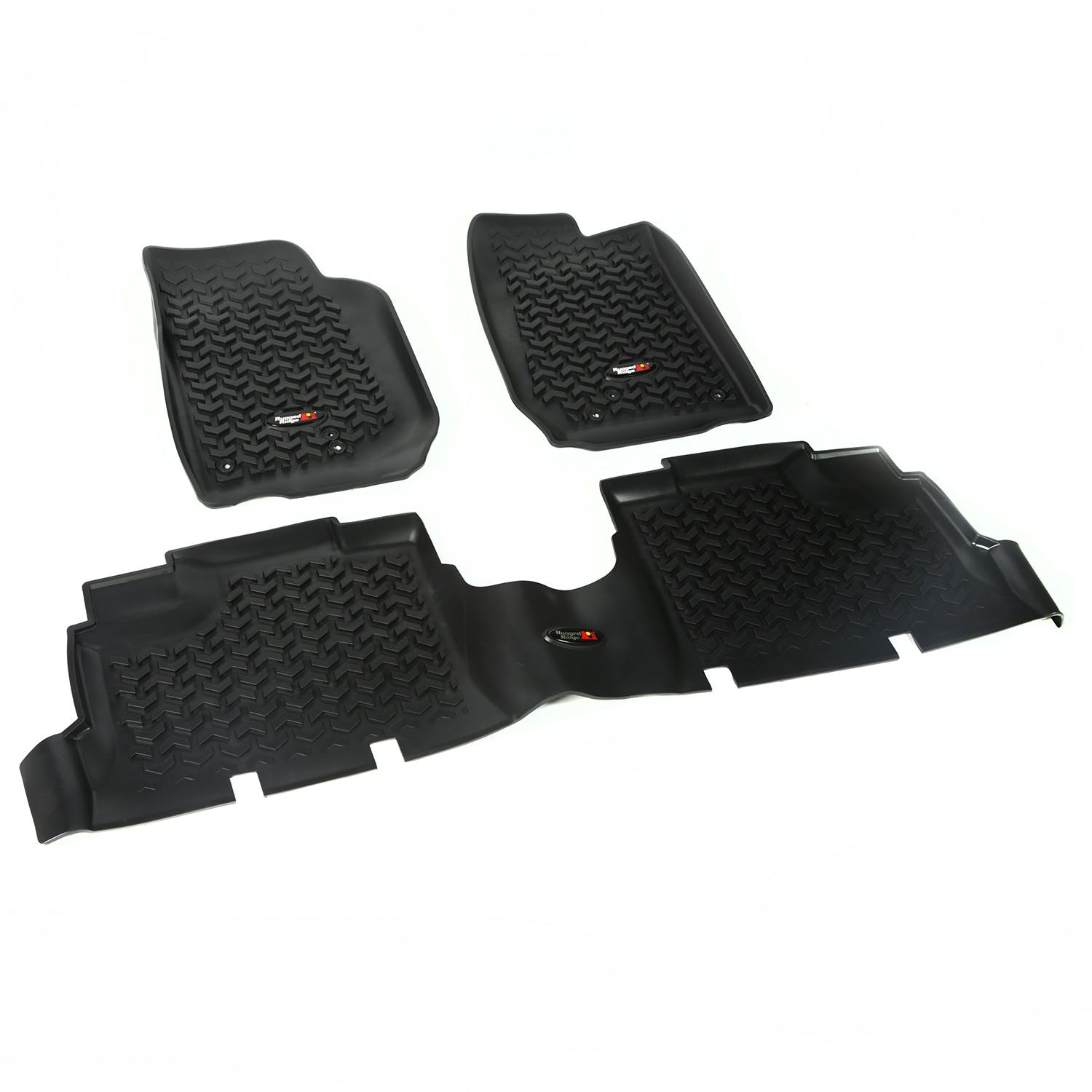 Rugged Ridge All-Terrain 12987.22 Black Front and Rear Floor Liner Kit For Select Jeep Grand Cherokee Models