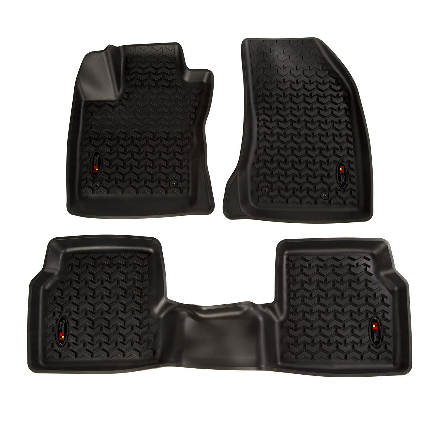 3 Pieces Rugged Ridge 12987.26 Black All-Terrain Front and Rear Floor Liner Kit