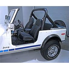 Rugged Ridge 13401.15 High-Back Front Seat; No-Recline; Black Denim; 76-02 CJ/Wrangler YJ/TJ