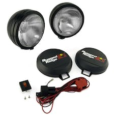 Rugged Ridge 15205.52 5 Inch Round HID Off Road Fog Light Kit; Black Steel Housing; Pair