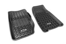 Rugged Ridge DMC-12920.25 Floor Liners, Front, Black, Jeep Logo; 84-01 Jeep Cherokee XJ