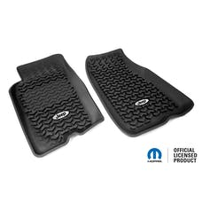 Rugged Ridge DMC-12920.26 Floor Liners, Front, Black, Jeep Logo; 93-98 Jeep Grand Cherokee ZJ