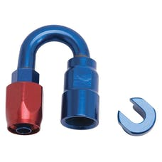 """Russell 611280 Hose End. 5/16"""" SAE Quick Disc. Fml to #6 Hose. 180°. Red/Blu Anodized"""