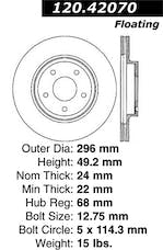 StopTech 127.42070R Sport Drilled/Slotted Brake Rotor; Front Right