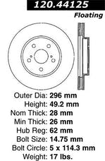 StopTech 127.44125R Sport Drilled/Slotted Brake Rotor; Front Right
