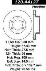 StopTech 127.44127R Sport Drilled/Slotted Brake Rotor; Front Right