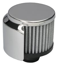 """Trans Dapt Performance 9516 3"""" Tall """"PUSH-IN"""" Style Breather w/HOOD; Open Cotton Filter; 1-1/4"""" Hole-CHROME"""