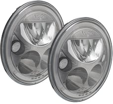 """Vision X 9925981 Pair 7"""" Round Amber Halo VX Black Chrome Face LED Headlight with Low-High-Halo"""