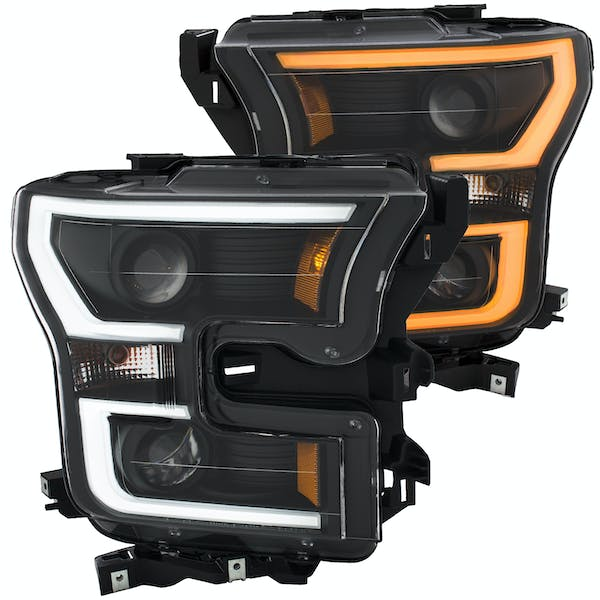 AnzoUSA 111357 Projector Headlights with Plank Style Switchback Black with Amber