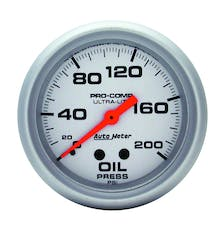 AutoMeter Products 4422 Gauge; Oil Pressure; 2 5/8in.; 200psi; Mechanical; Ultra-Lite