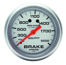 AutoMeter Products 4426 Gauge; Brake Pressure; 2 5/8in.; 2000psi; Mechanical; Ultra-Lite