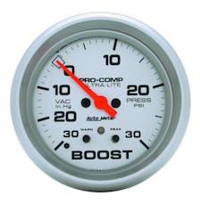 AutoMeter Products 4477 Gauge; Vac/Boost; 2 5/8in.; 30inHG-30psi; Stepper Motor w/Peak/Warn; Ultra-Lite