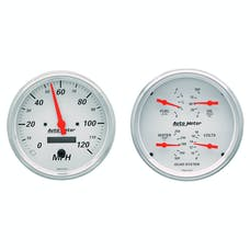 AutoMeter Products 1303 Quad Gauge & Electric. Speedo Kit  Artic White
