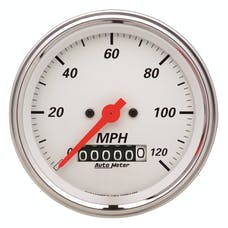 AutoMeter Products 1379 Gauge; Speedometer; 3 3/8in.; 120mph; Elec. Prog. w/Wheel Odo; Arctic White