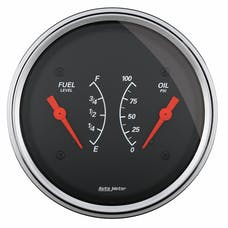 """AutoMeter Products 1413 3-3/8"""" Dual, Fuel Level, 240-33, Oil Pressure, 0-100"""