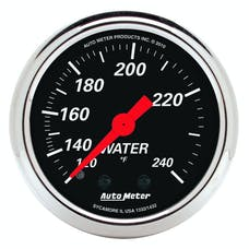 "AutoMeter Products 1432 2"" Water Temperature Guage, 120-240`F Mechanical, Designer Black"