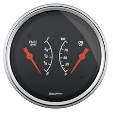 "AutoMeter Products 1434 3-3/8"" Dual Fuel Level, 0-90, Oil Press, 0-100, Designer Black"