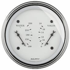 AutoMeter Products 1630 Gauge; Dual; WTMP/VOLT; 3 3/8in.; 250deg.F/18V; Elec; Old Tyme White