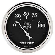 AutoMeter Products 1727 Old Tyme Black Series Oil Pressure Gauge (0-100 PSI, 2-1/16 in.)