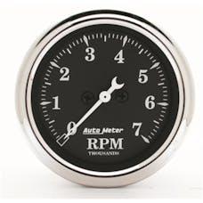 AutoMeter Products 1797 Gauge; Tachometer; 2 1/16in.; 7k RPM; In-Dash; Black Bzl; Old Tyme Black