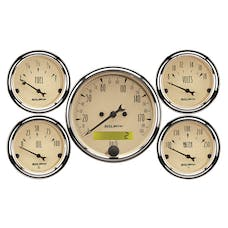 AutoMeter Products 1809-M Gauge Kit; 5 pc.; 3 1/8in./2 1/16in.; Elec. km/h Speedometer; Antique Beige