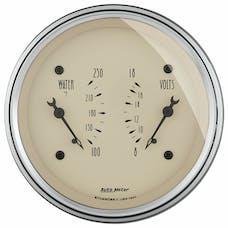 AutoMeter Products 1830 Gauge; Dual; WTMP/VOLT; 3 3/8in.; 250deg.F/18V; Elec; Antq Beige
