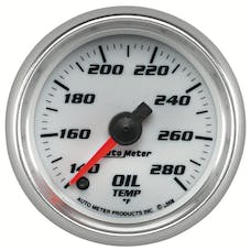 "AutoMeter Products 19740 Oil Temperature Gauge, White-Pro Cycle 2 1/16"", 140-280Γö¼ΓòæF Digital Stepper M"