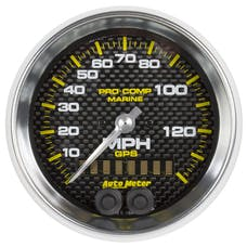 AutoMeter Products 200638-40 Gauge; Speedometer; 3 3/8in.; 140mph; GPS; Marine Carbon Fiber