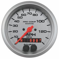 AutoMeter Products 200638-33 Gauge; Speedometer; 3 3/8in.; 140mph; GPS; Marine Silver
