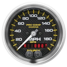"AutoMeter Products 200639-40 Marine Carbon Fiber Speedometer Gauge 3 3/8"", 200MPH, GPS"