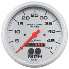 AutoMeter Products 200644 Gauge; Speedometer; 5in.; 50mph; GPS; Marine White