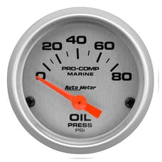 """AutoMeter Products 200744-33 Oil Pressure Gauge, Electric-Marine Silver 2 1/16"""", 80PSI"""