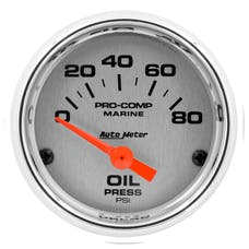 """AutoMeter Products 200744-35 Oil Pressure Gauge, Electric-Marine Chrome 2 1/16"""", 80PSI"""
