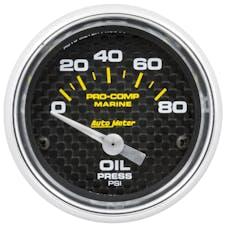 "AutoMeter Products 200744-40 Oil Pressure Gauge Electric-Marine Carbon Fiber  2 1/16"", 80PSI"