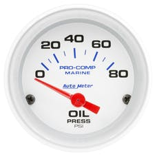 """AutoMeter Products 200744 Oil Pressure Gauge, Electric-Marine White  2 1/16"""", 80PSI"""