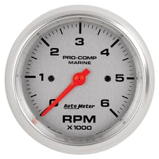 "AutoMeter Products 200752-33 Tachometer Gauge, Marine Silver 3 3/8"", 6K RPM"