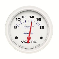 AutoMeter Products 200757 Gauge; Voltmeter; 2 5/8in.; 18V; Electric; Marine White