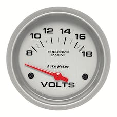 AutoMeter Products 200757-33 Gauge; Voltmeter; 2 5/8in.; 18V; Electric; Marine Silver