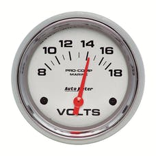 AutoMeter Products 200757-35 Gauge; Voltmeter; 2 5/8in.; 18V; Electric; Marine Chrome